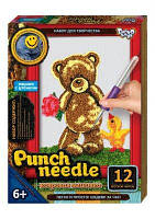 """Ковровая вышивка """"Punch needle: Мишка с цветочком"""" PN-01-01 PN-01-01,02,0 sco"""