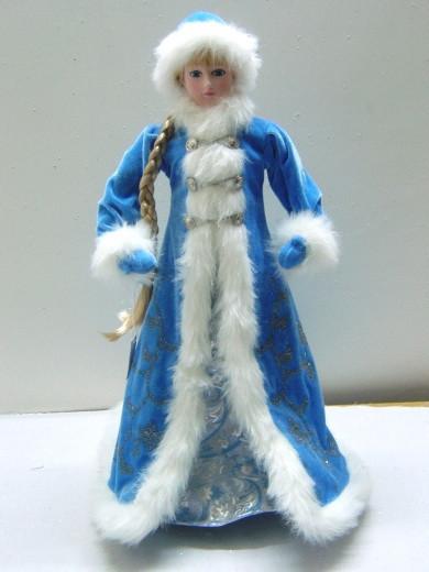 Снегурочка в голубой шубе, 58 см, синий, керамика, текстиль (600090-2)