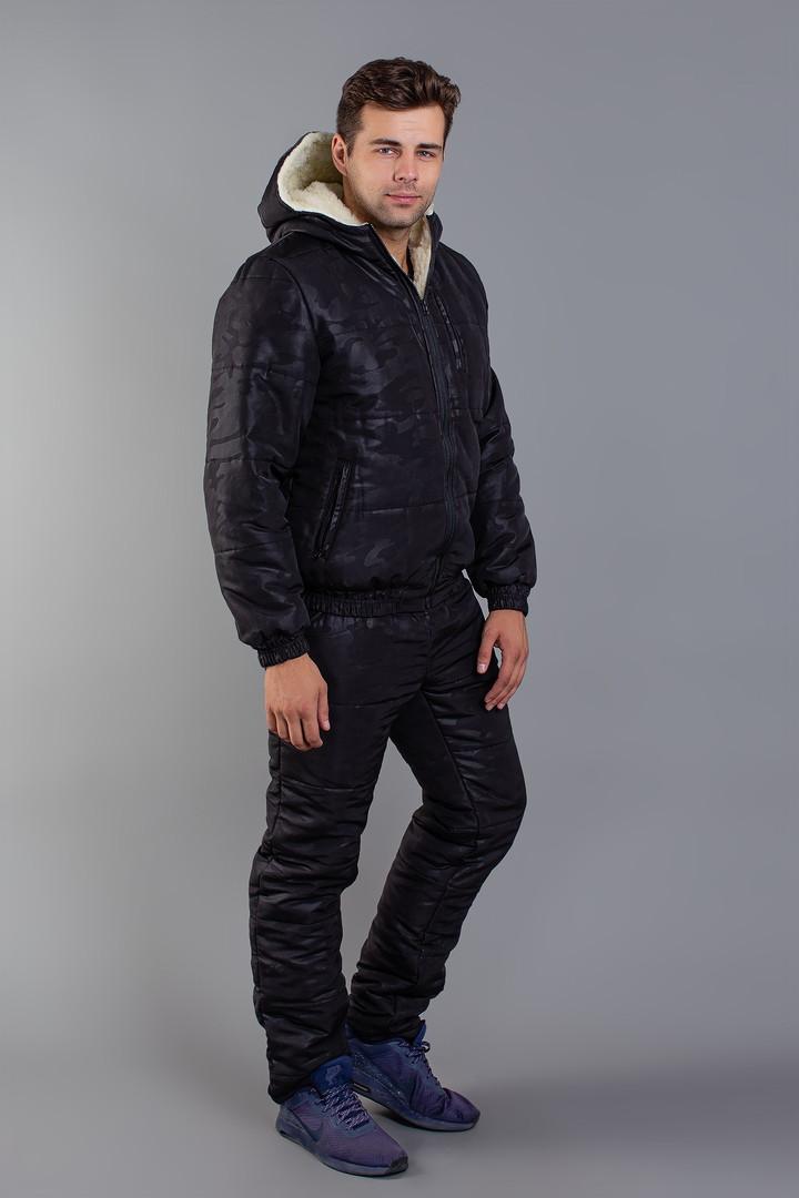 Костюм мужской зимний из плащевки на меховой подкладке с принтом камуфляж Копия (К28897)