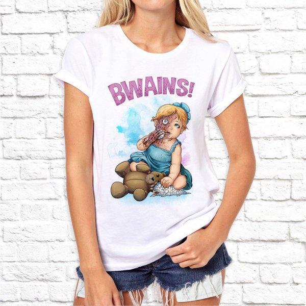 """Женская футболка Push IT с принтом Зомби""""Bwains!"""""""