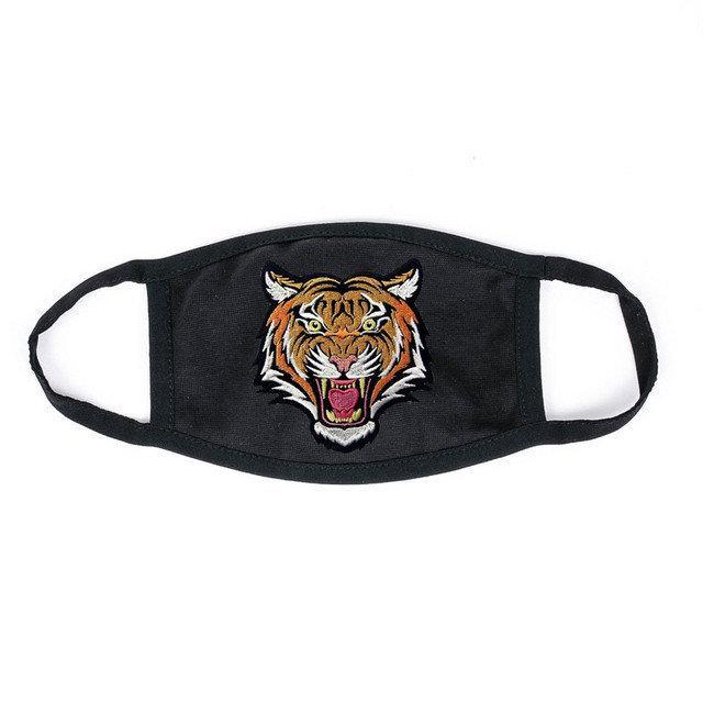Маска на лицо Пушка Огонь черная - Тигр