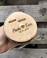 Подушечка для обручок в стилі рустік з дерева, підставка для обручок з дерева