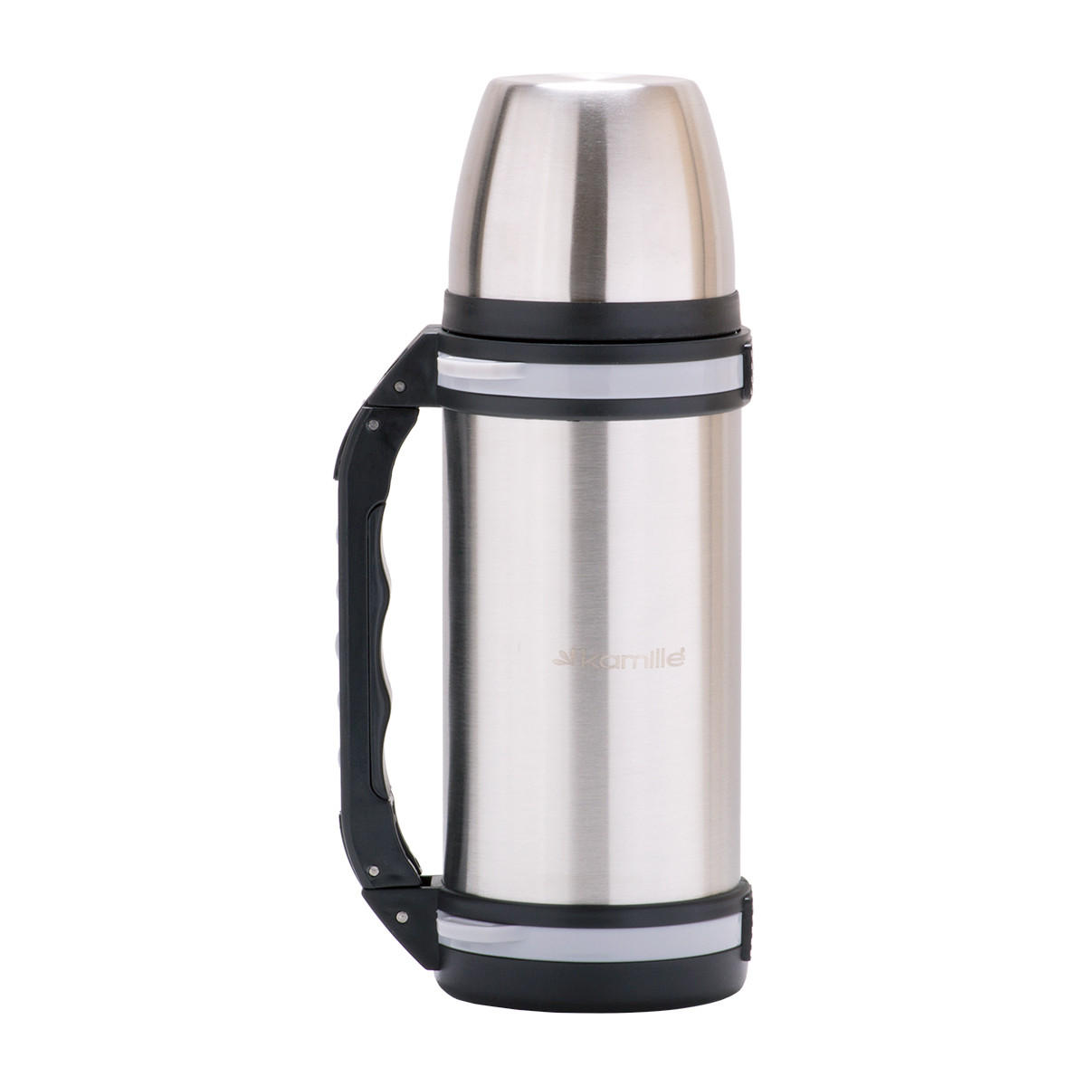 Термос для напоїв Kamille 1л з нержавіючої сталі з ручкою і ремінцем, питної термос для чаю та кави