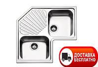 Угловая кухонная мойка с двумя чашами Apell Angolo ROAN2IAC Linen 83*83*50
