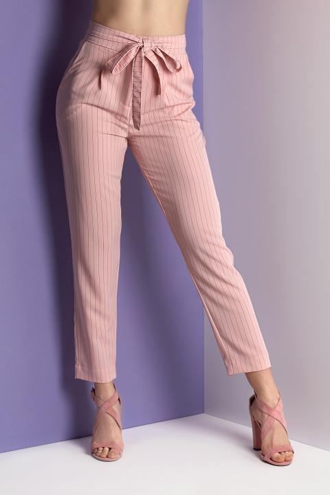 Модные брюки розового цвета (Код BR-422 Розовый)