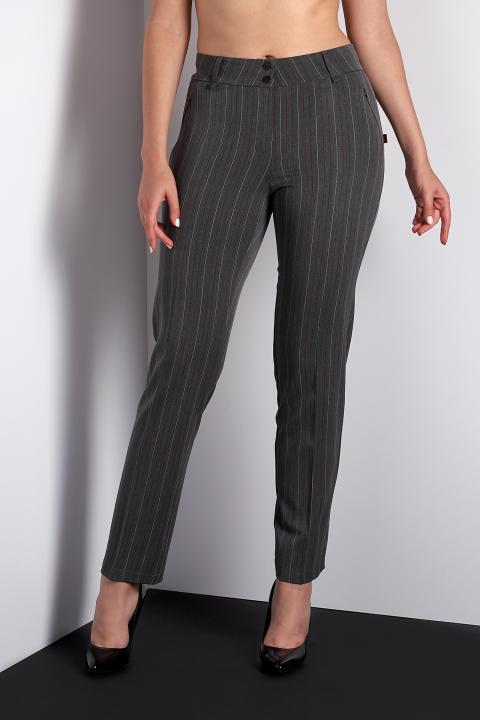 Классические серые брюки (Код BR-3911 серый с красной полоской)