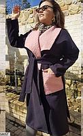 Пальто женское кашемир+букле батал ( черный, пудра, синий ) р: 48-52, 54-58