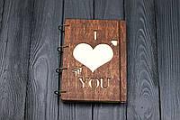 Блокнот А5  I Love You  Темный из фанеры на кольцах, 60 листов.
