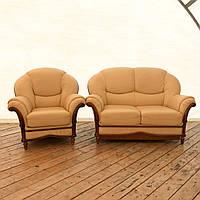 Кожаный диван раскладной с креслом  «Салюти»