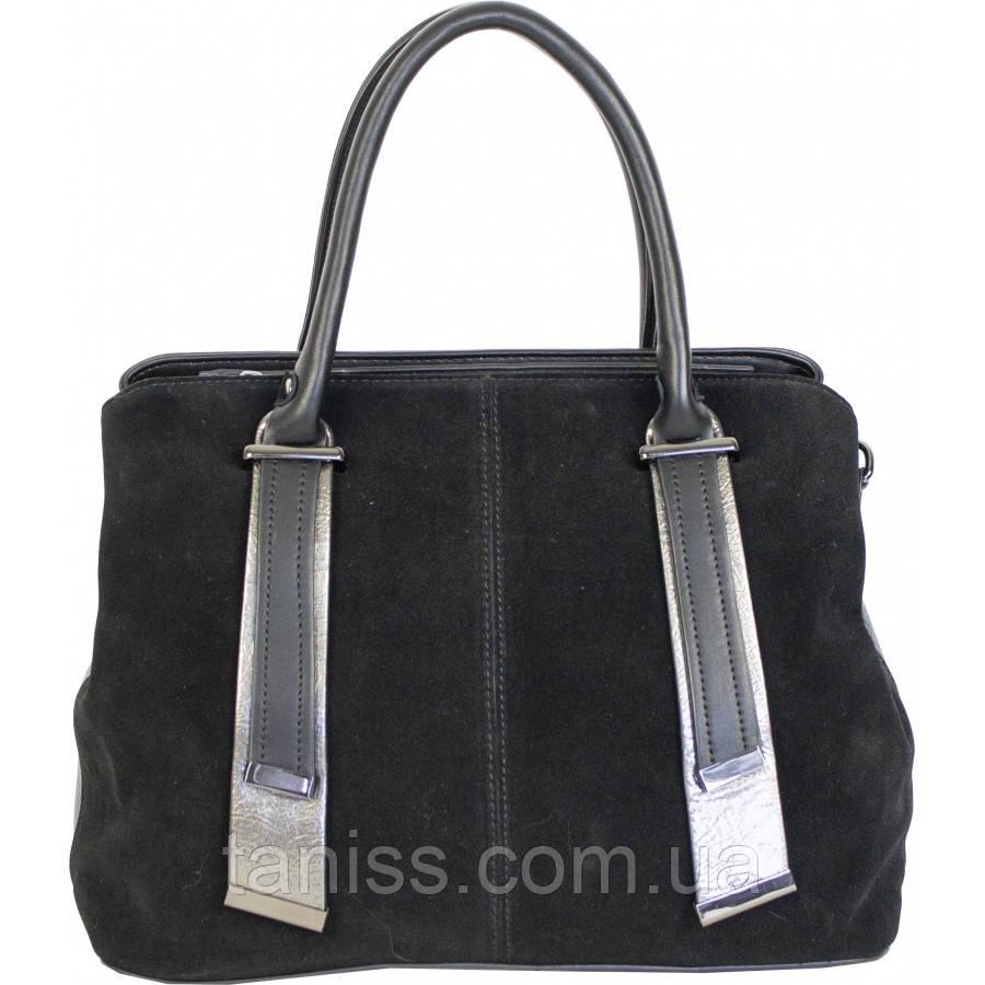 Элегантная, стильная  женская сумка, комбинация экокожи  и натуральной замш,2 ручки,3 отделения (86517 )