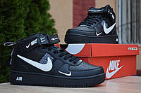 Кроссовки Nike Air Force 1 Mid LV8 мужские зимние, черные, в стиле Найк Аир Форс, кожа, овчина, код OD-3365