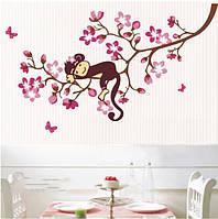 """Наклейка на стену, виниловые наклейки, украшения стены наклейки """"Обезьянка  спит на дереве"""" (лист70*50см)"""
