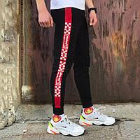 Спортивные штаны в стиле Off White Line Temper черные c красным