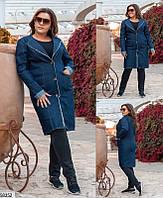 Кардиган женский демисезонный плотный джинс больших размеров 48-58, 3 цвета