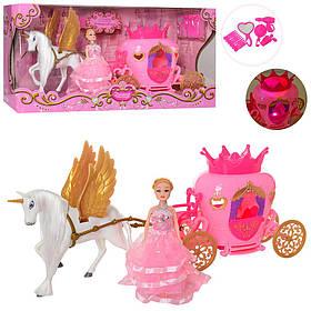 Карета з конем 41см, лялька 14,5 см, аксесуари, музика, звук, світло, 2204D