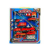 Набор с транспортом металлический, пожарная/дорожная, техника, от 8см, MZ865-1