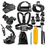 Набор креплений для экшн камер, голова, грудь, поплавок, руль, монопод, фото 1