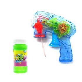 Пистолет с подсветкой, пускающий пузыри (голубой)  sco