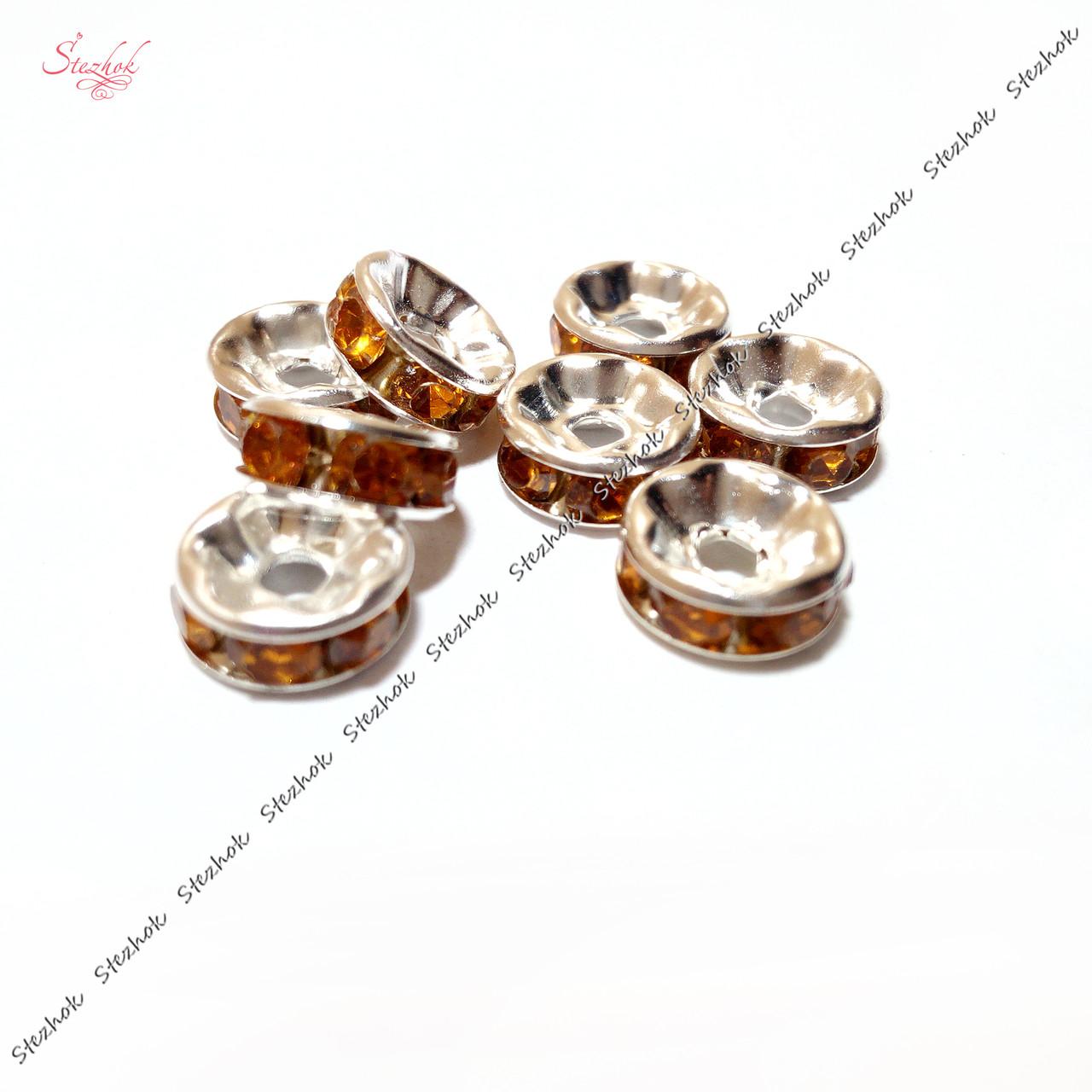 Металлическая бусина-разделитель 8х4 мм со стразами для рукоделия цвет оранжевый