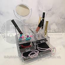 Акриловий Органайзер 4 полиці для Косметики з Дзеркалом Acrylic Cosmetic Organizer NEW