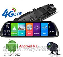 Зеркало с видеорегистратором ANDROID MR-810 AND 4G WiFi GPS  Андроид 8.1, Экран 10 дюймов, две камеры, GPS