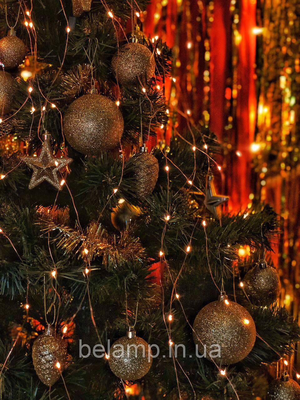 Новогодняя гирлянда на елку конский хвост от солнечных батарей