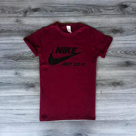 Футболка мужская - в стиле Nike бордовый, фото 2