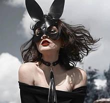 Портупея маска на лицо черная из эко кожи зайчик кролик