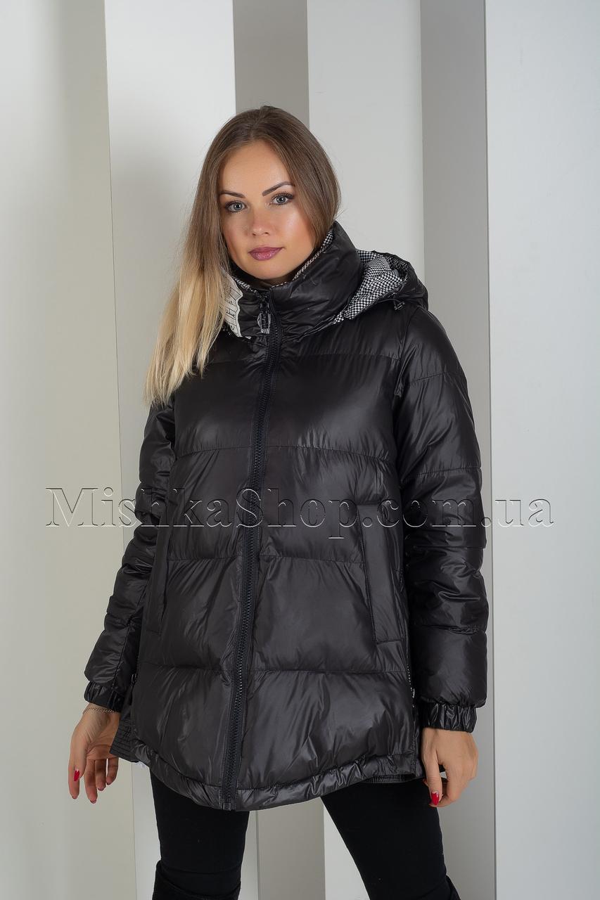 Эксклюзивная зимняя куртка оверсайз фасона колокольчик чёрного цвета Rufuete 19999
