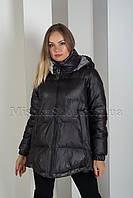 Эксклюзивная зимняя куртка оверсайз фасона колокольчик чёрного цвета Rufuete 19999, фото 1
