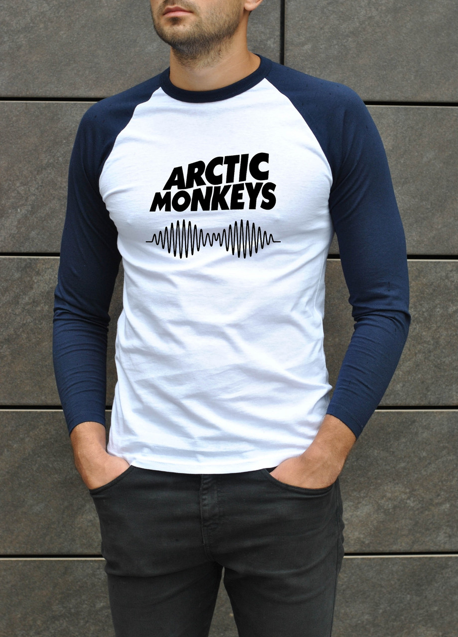 Футболка мужская - Джерси трикотаж (рукав 3/4) Arctic Monkeys белый-голубой