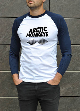 Футболка мужская - Джерси трикотаж (рукав 3/4) Arctic Monkeys белый-голубой, фото 2
