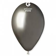 """Латексна кулька хром срібний темний (асвальт) 13"""" / 90 / 33см Shiny Space Grey"""