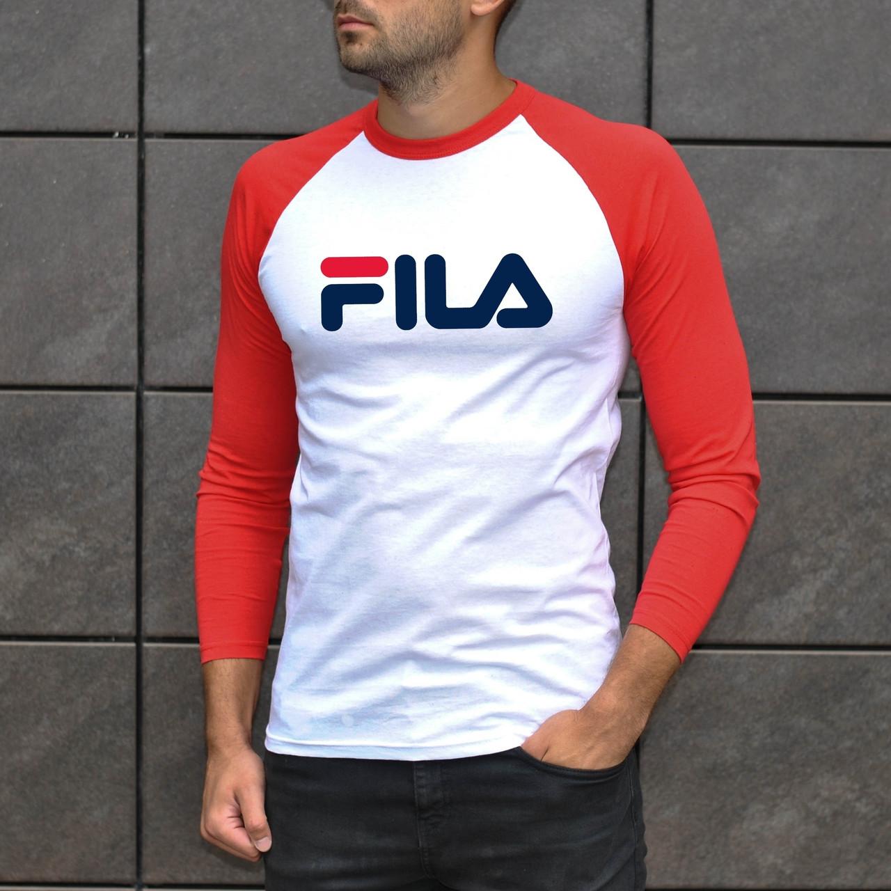 Футболка мужская - Джерси трикотаж (рукав 3/4) в стиле Fila белый-красный