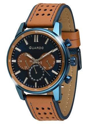 Часы мужские Guardo 007576-4 сине-коричневые, фото 2