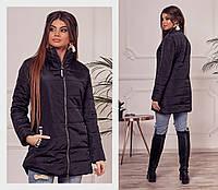 Стильная женская куртка удлиненная демисезонная черная
