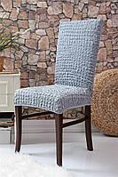 Чехлы натяжные на стулья без оборки (набор 6-шт) Venera серый