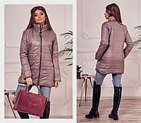 Стильная женская куртка удлиненная демисезонная кофейная