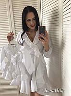 Детское белое платье с рюшами на 2-3 года r51NA27