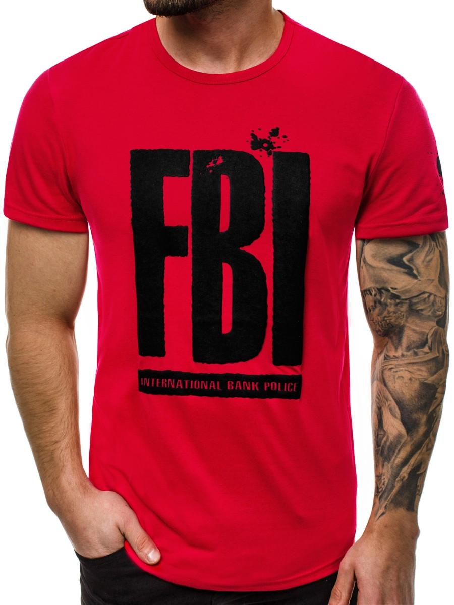 Футболка мужская - надпись FBI красный