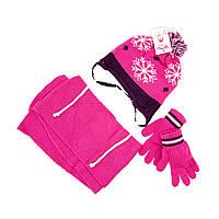 Шапка шарф перчатки Suve для 3-6 лет Тёмно-розовый TUR 50126 snow pink, КОД: 152809