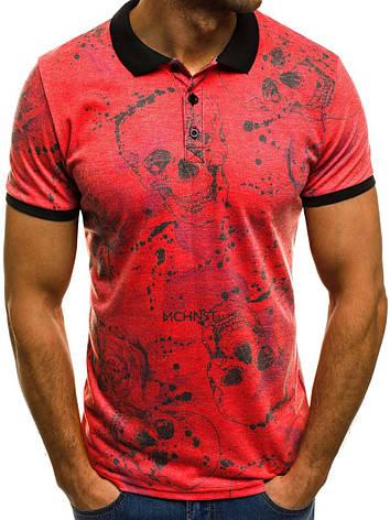 Футболка мужская - Поло розовый-красный, фото 2