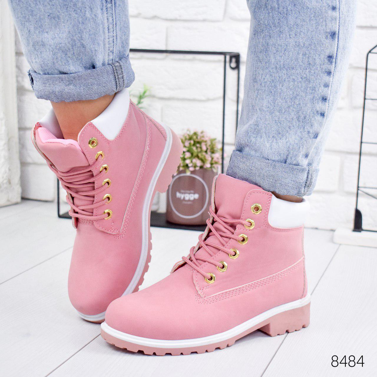 """Ботинки женские демисезонные """"Tim Tim"""" розового цвета из эко нубука. Ботильоны женские. Ботильоны деми"""