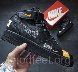 "Женские кроссовки Nike Air Force 1 Mid ""Just Do It"" Black"