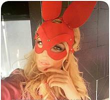 Портупея на лицо маска кролик красная , портупея маска, маска кролика красная, маска зайки