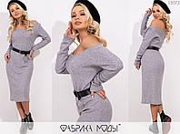 Платье женское с поясом в комплекте FL/-1390 - Серый, фото 1