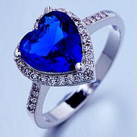 """Кольцо Swarovski """"Синее сердце"""", фото 1"""