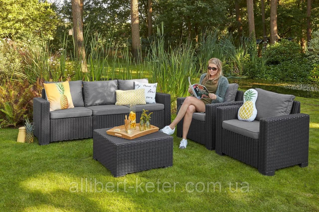 Набор садовой мебели California 3 Seater Set Graphite ( графит ) из искусственного ротанга