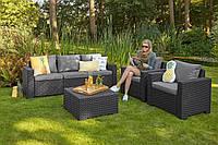 Набор садовой мебели California 3 Seater Set Graphite ( графит ) из искусственного ротанга, фото 1