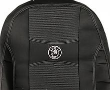 Чехлы на сиденья SKODA FABIA III 2014- задняя спинка цельная; 4 подголовников; airbag. 'NIKA'